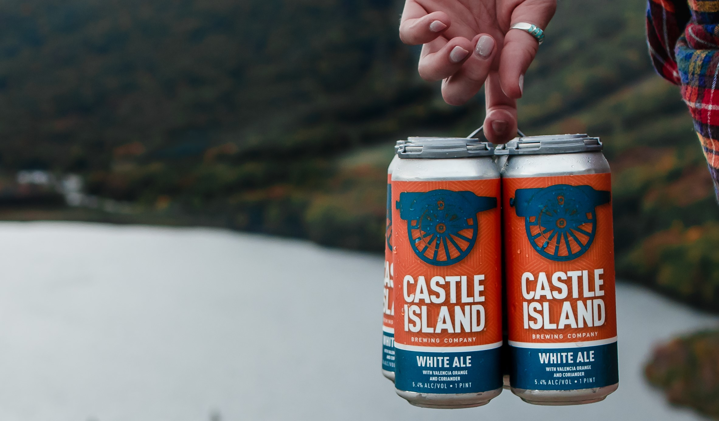 White Ale cans in nature
